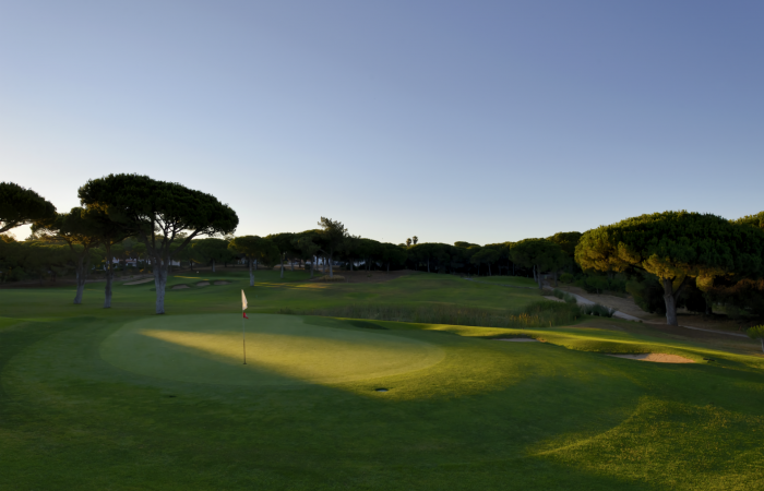 Green with flagstick in the Dom Pedro Pinhal Golf Course
