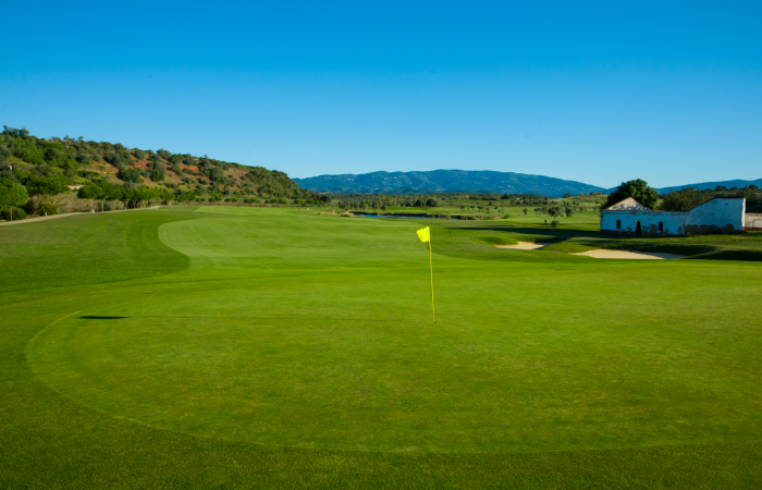 Green in the Morgado Golf Course surrounded by nature