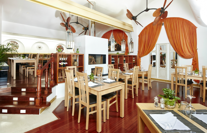 Restaurant room with chairs and tables