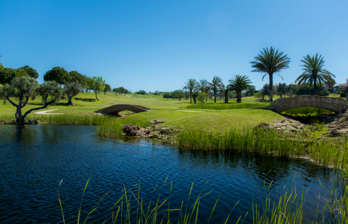 A lake and two bridges on the Boavista golf course