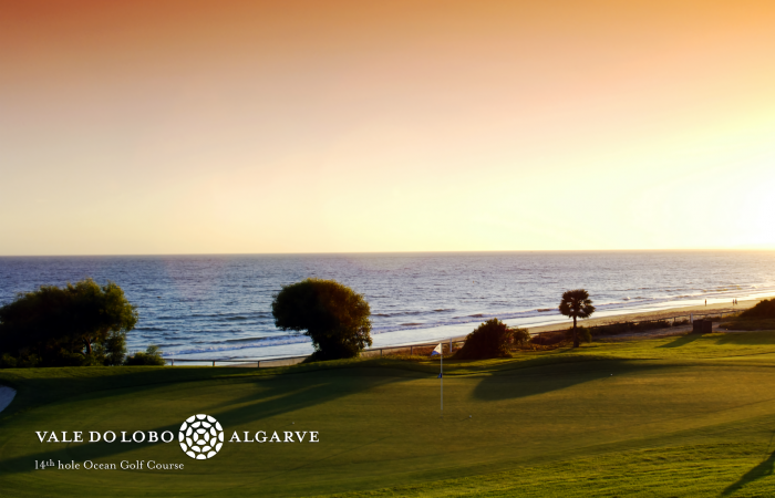 Fourteenth hole of the Ocean Golf Course in the sunset