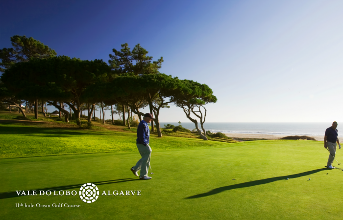 Two men playing golf in the Ocean Golf Course in Vale do Lobo