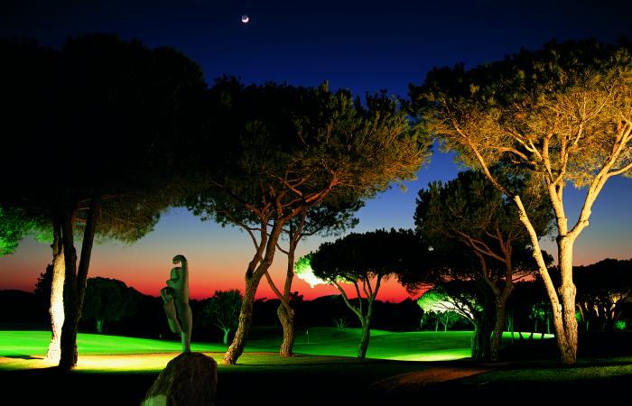 Vila Sol Golf Course illuminated in the evening